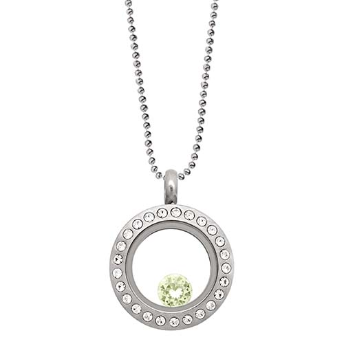 LB1037   August Swarovski Birthstone Silver Mini Living Locket Gift Set